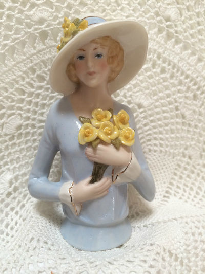 PORCELAIN HALF DOLL Lady with yellow Flowers