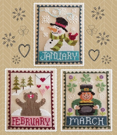 Waxing Moon Designs monthly trio January,February,March