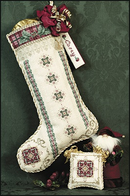 Cranberry plaid stocking,JN063, by Just Nan