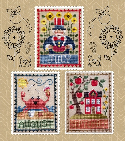 Waxing Moon Designs monthly trio July,August,September