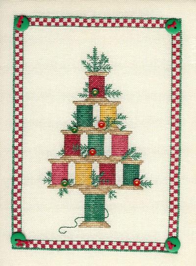 Sue Hillis Designs Christmas spool tree