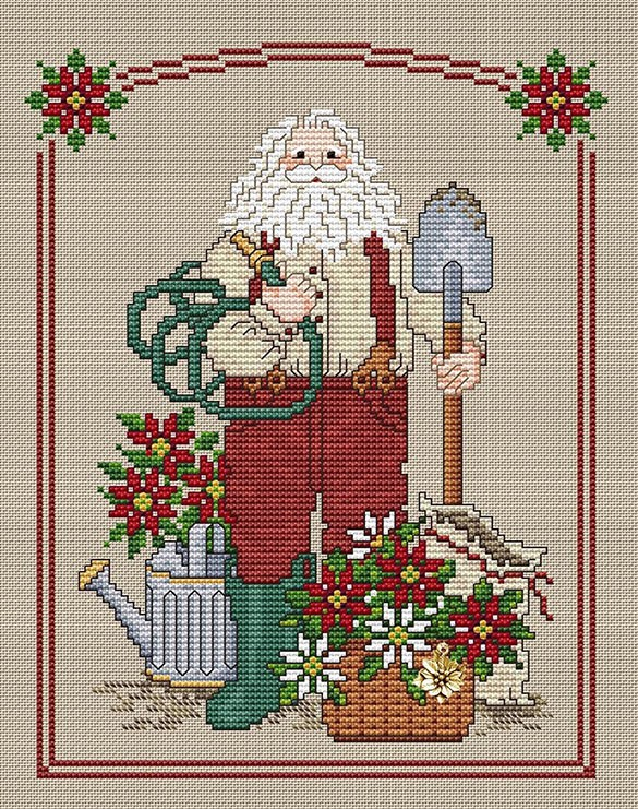 Poinsettia Santa by Sue Hillis Designs