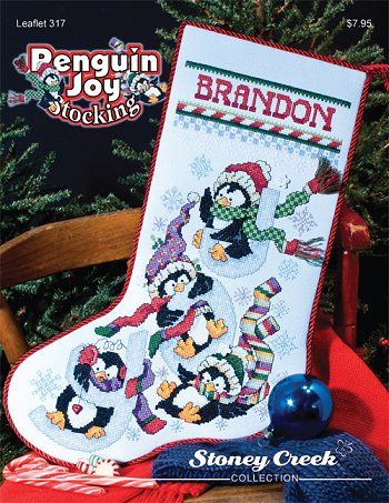 Penguin Joy stocking by Stoney Creek