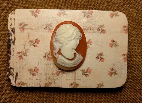Cameo woman needle box by Madame Needle