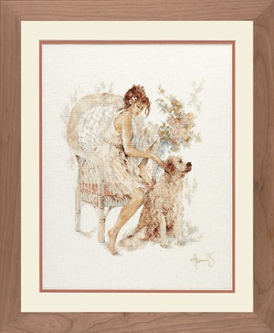 Girl in Chair with Dog by Lanarte