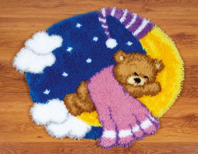 Teddy on the Moon latch hook rug by Vervaco