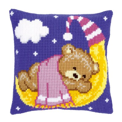 Vervaco Pink teddy on pillow,PNV148195