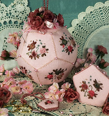 Pomander Roses Pincushion by The Victoria Sampler