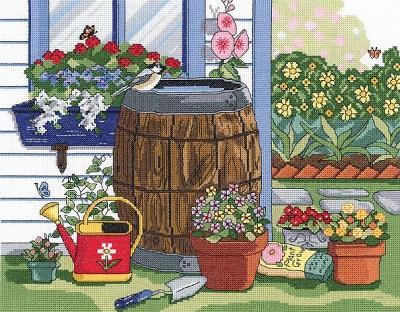 Rain barrel and window box by Janlynn