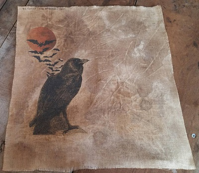 Raven, Moon, Nevermore fabric,36ct,18x27 by Kanikis