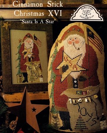 Homespun Elegance CINNAMON STICK SANTA  Santa Is A Star