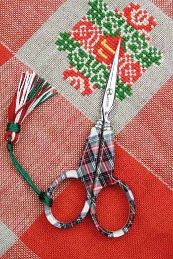 Tartan fabric embroidery Scissors by Sajou