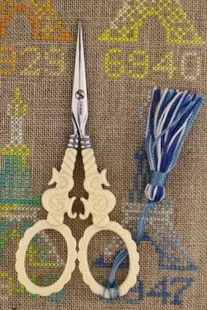 Veined Ivory style scissors by Sajou