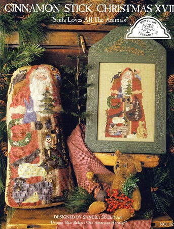 Homespun Elegance Cinnamon Stick Santa XVII  Santa Loves All The Animals