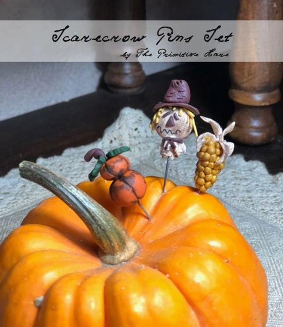 The Primitive Hare Scarecrow pin set