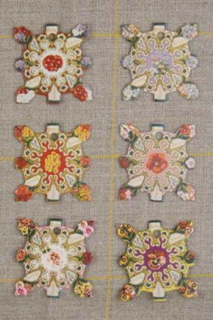 Six thread cards Elbeuf model Vintage flowers by Sajou