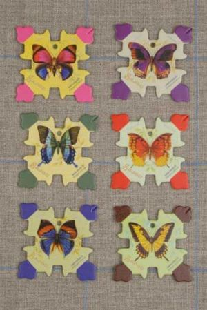 Six thread cards Honfleur model butterflies by Sajou