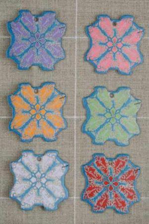Six thread cards Lisieux model Feather motifs by Sajou