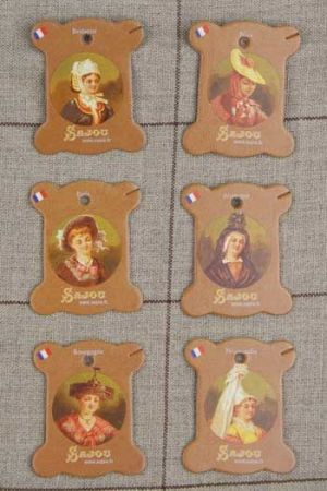 Six thread cards Vernon model French costumes by Sajou