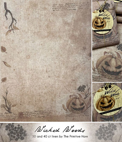 The Primitive Hare Wicked Woods 30ct linen
