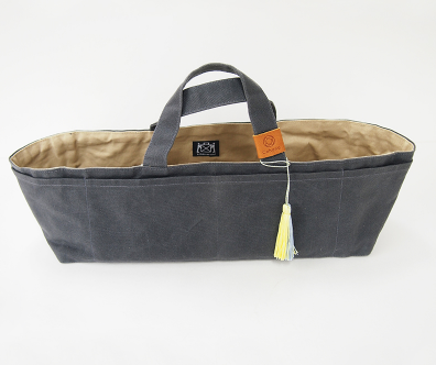 Waxed Canvas Work Bag by Cohana-GREY with YELLOW