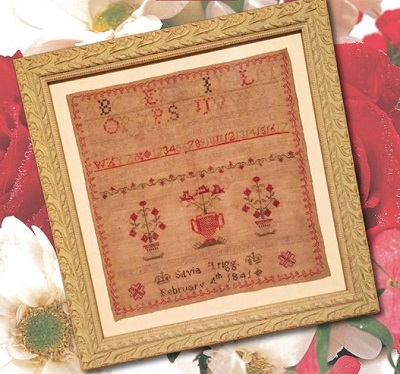 Three Red Pots by Cross Stitch Antiques