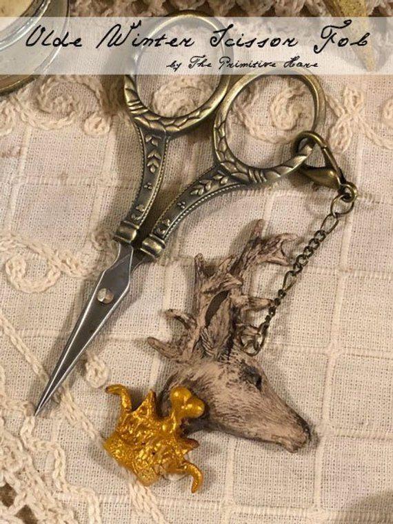 The Primitive Hare Olde winter scissors fob