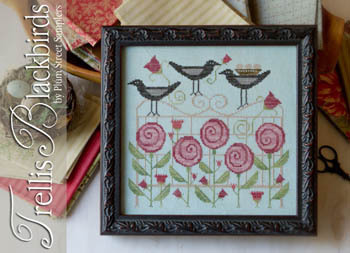 Trellis blackbirds by Plum Street Samplers