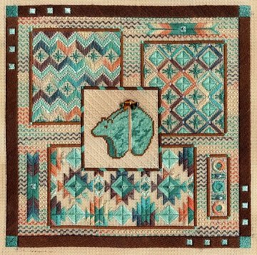 Turquoise Bear Collage by Laura J Perin Designs