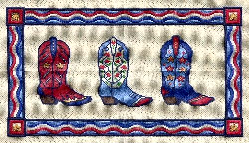 RED, WHITE & BLUE BOOTS by Laura J.Perin Designs