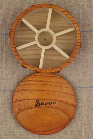 Wooden round box for miniature bobbins by Sajou